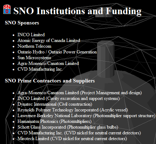 SNO Institutions and Funding